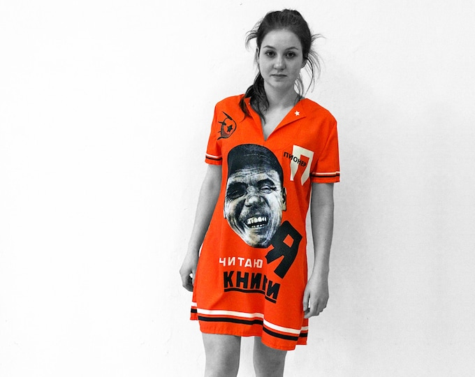 I READ BOOKS Dress, short sleeves, A-Line, printed with Soviet posters from 1920 to 1940, digital print