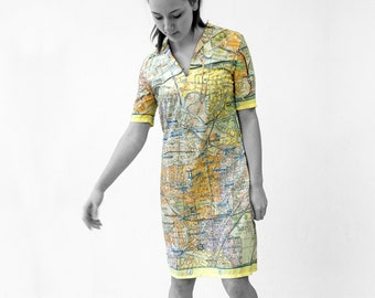 BERLIN DRESS with Belt +  sailor collar, GDR city map 1960