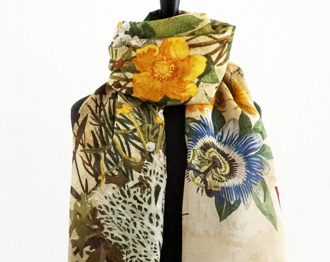 Featured listing image: PLANTS scarf hand drawing, Lavender Ginkgo Sage Mistletoe Ivy Thyme St. John's wort Valerian Camomile Arnica Marigold