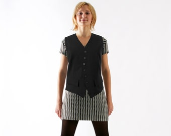 CLASSIC VEST with pockets and silver buttons 1940s, black wool