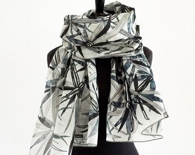 "Featured listing image: Scarf ""Braid"" hand drawing, artfully designed cloth, floral, cotton silk"