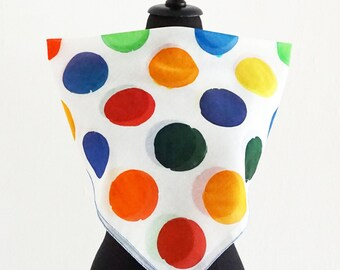 Hand Painted Dots Scarf - Color Polka Dots - Cotton Silk Wrap - Points Shawl - multicolor
