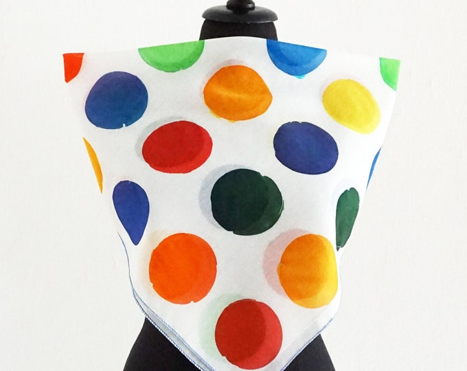 Featured listing image: Hand Painted Dots Scarf - Color Polka Dots - Cotton Silk Wrap - Points Shawl - multicolor