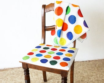 Cushion Cover with Hand Painted Dots - Color Polka Dots - Points Pillow Case - multicolor - organic cotton