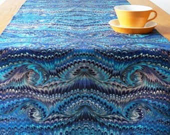TABLE RUNNER Art-Déco Art-Nouveau marbling organic-cotton