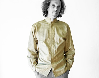 MEN SHIRT stand-up collar in different colors, screen print, concealed closure