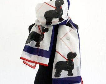 "SCARF ""DOG OSCAR"" cotton and silk, black dog, digital print"