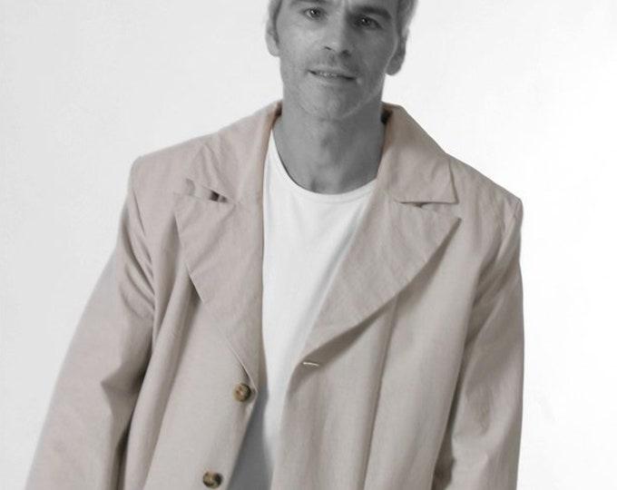 SALE!  LONG JACKET, bright brown, Wedding, Groom, formal clothing, blazer, cotton, lapel, hidden button, formal wear, classic