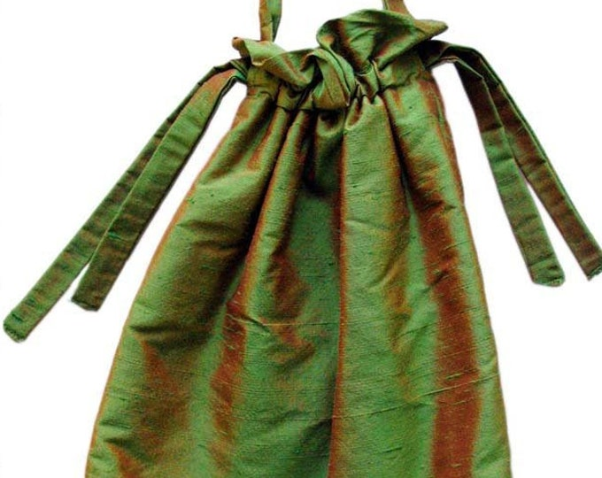 SILK POUCH, iridescent, shiny, green, brown, lining, glosy, Art Deco, Art Déco, Art Nouveau, handbag, glossy, art deco, art nouveau