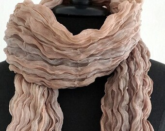 PLEATED BATIK SCARF  Plissée, Plissee, brown, beige, multicoloured, crashed, fold, wedding