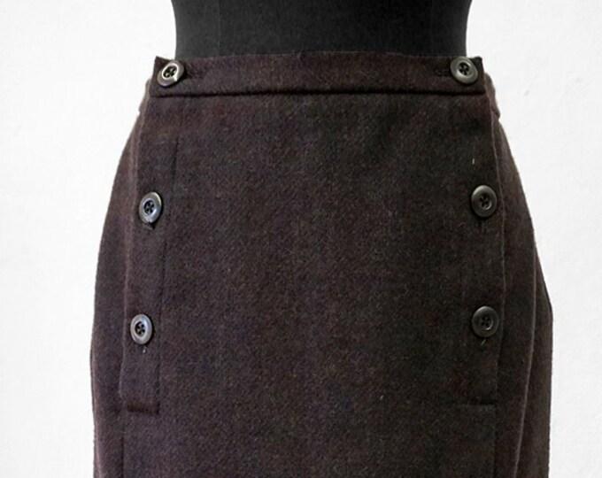SALE! 2-row SKIRT Wool brown, Winterskirt, Midi Skirt, double breasted, slim, knee length, handmade