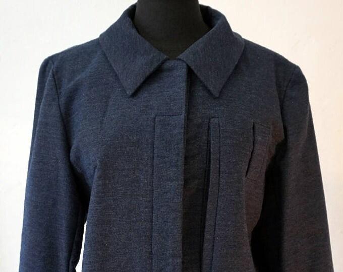 SALE! JACKET A- Line, blue, brown, short Blazer, Fall, Winter, handmade, Print, Wool, A silhouette, modern, concealed closure
