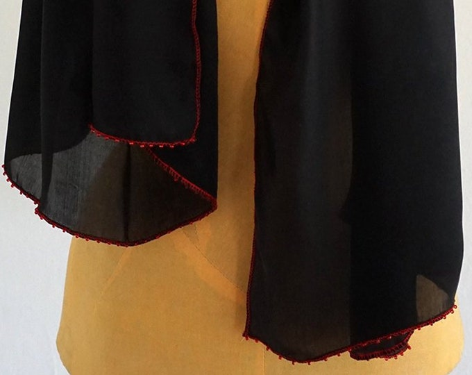 BLACK SILK SCARF embroidered with red Beads, Art Déco shawl, Art Nouvau