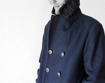 WINTER CABAN, Wool, Cashmere, blau, Short Coat, Woolfelt, Felt, double row, 2-row, Winter Coat, Winter Blazer, Wool, DB Jacket