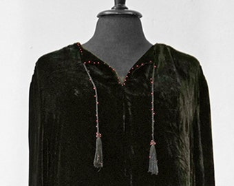 SALE! UNIQUE SILKVELVETDRESS, silk, velvet,  black, smok, beads, Art Nouveau, tassels, handmade, unicat, silk velvet, long, art deco