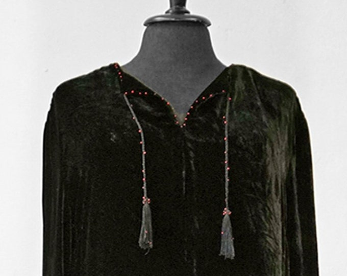 SALE! UNIQUE SILKVELVETDRESS, silk, velvet,  black, smok, beads, Art Nouveau, tassels, handmade, unicat, silk velvet, long, art deco