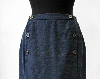 SALE! SKIRT double-breasted, 2-row, blue, slim, Wool, Winter, long, handmade, knee length