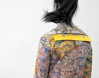 PIONEER Blouse with 3/4 Sleeves, sailor collar, Seaman, Berlin Map, card, plan Berlin, Socialism, digital print,