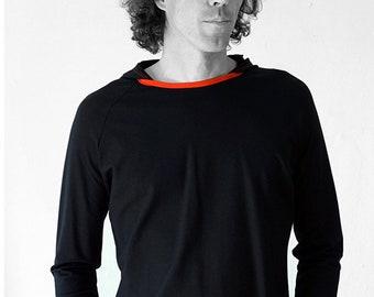 HOODY T-SHIRT black, red, cotton, elastha, jersey, hoody, raglan, long sleeve, colour, raglan, Minimal