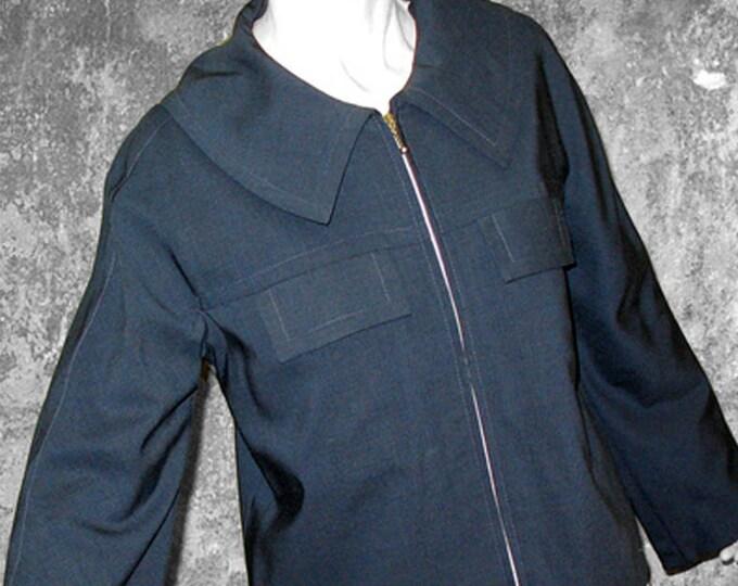 SALE! JACKET KIMONO, wool, pockets, silver, dark blue, Zipper, short