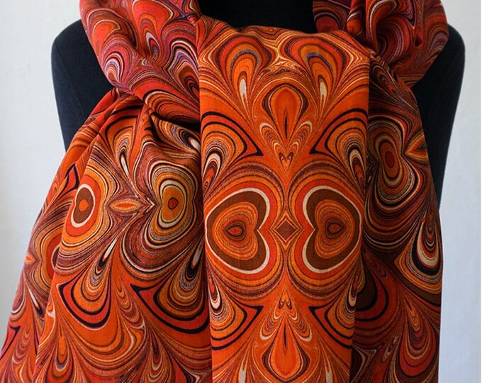 ART DECO SCARF Silk, Cotton, Art Nouveau, digital print, 1920 - 1940, Silk wraps, red, orange