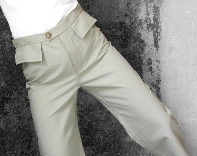 SALE! 7/8 PANTS MEN, cropped trousers, cotton, stripes, short, button, flap pockets, brown, green, ankle long, classic, handmade, wide leg