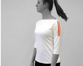 PIONEER T-SHIRT No. 4, 3/4 Sleeves, Boat neck, light gray, jersey, cotton, big neckline, long sleeve, Custom, colour, Shirt, GDR, Pioneer