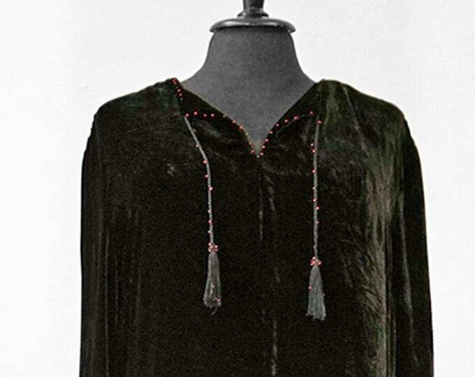 UNIQUE SILK VELVET dress, velvet, black, smok, beads, Art Nouveau, unicat, long, art deco