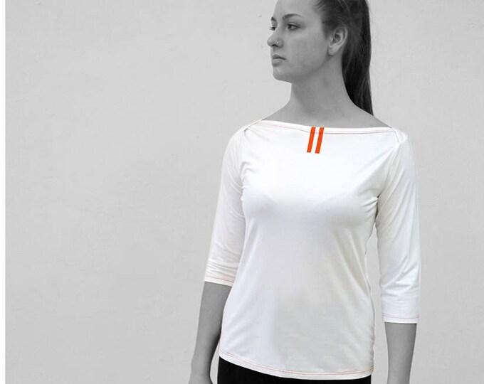 PIONEER T-SHIRT No. 7, 3/4 Sleeves, Boat neck, light gray, jersey, cotton, big neckline, long sleeve, Custom, colour, Shirt, GDR, Pioneer