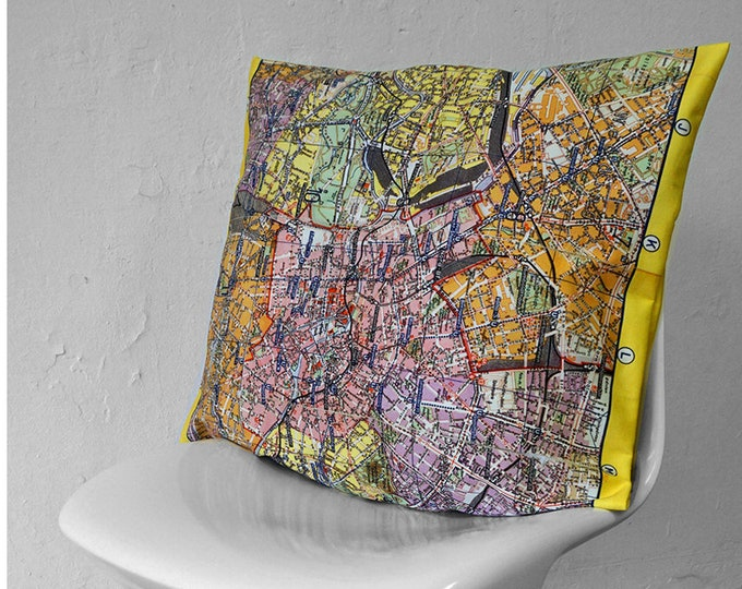 PIONEER BERLIN Map Pillow Cases, Pillow Cover, Vintage, Cotton, digital print, card, plan, GDR, communism, 1960 years, Mauerbau, berlin plan