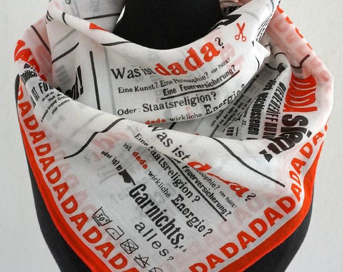 SCARF DADAISM Dada, Bauhaus, Anna Blume, surrealism, Drawings, Merz Art, Script, Text, Silk, Cotton, 1920s, 1930s, Digital Print, Bandanas