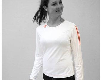 PIONEER T-SHIRT No. 5, Round Neck, light gray, jersey, cotton, big neckline, long sleeve, Custom, colour, Shirt, GDR, Pioneer