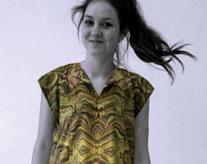 ART DECO Dress, Tunic with belt, Viscose, Art Deco, Art Nouveau, digital print, 1920, 1930, 1940s, marbling, art déco