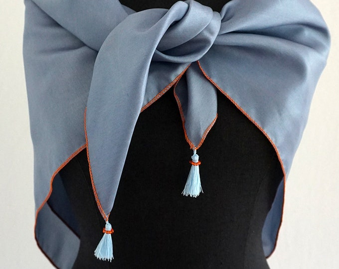 SILK SCARF with TASSELS pigeon blue, embroidered with Beads, wedding, sqaure shawl, Art Déco, Art Nouveau