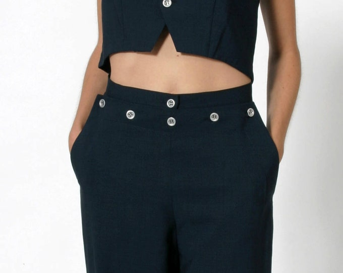SAILOR PANTS wool, navy, 19. century, business, tailored, seaman, uniform, trousers, classic, vintage, black, khaki, violett, historical