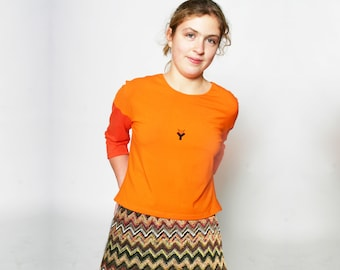 KNIT SKIRT multicolored, orange,green, brown, knitting, Winter, knee long, Midi Skirt