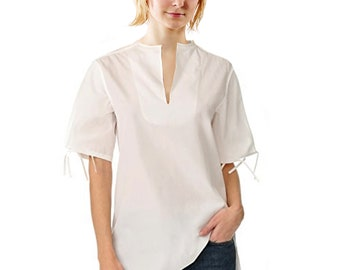 TUNIC with stand-up collar, short sleeves, slip form, in different fabrics: silk, linen, cotton