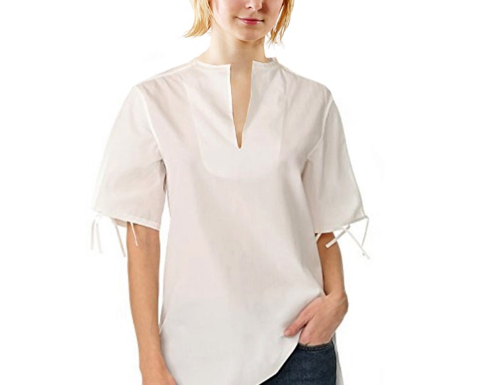 TUNIC with stand-up collar, short sleeves, slip form, in different colours, silk, linen, cotton