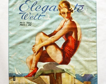 "ART DECO BANDANA ""Woman in a Bathing Suit"" Scarf, cotton and silk, Art Nouveau 1930s"