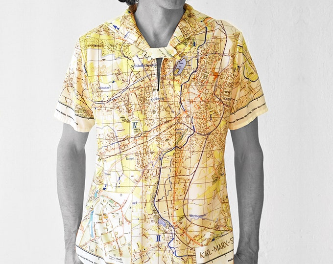 Karl-Marx-City Shirt with short sleeves and sailor collar, Karl Marx Stadt, digital print
