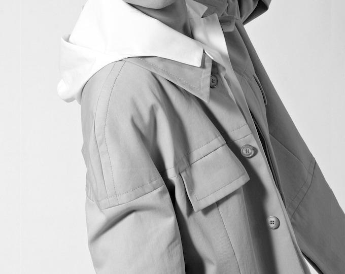 MEN JACKET with overlapping shoulders, flap pocket, cotton, short jacket, concealed closure