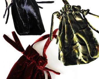VELVET POUCH in different colors and fabrics, Art Deco, Art Nouveau, silk velvet, cotton velvet, silk