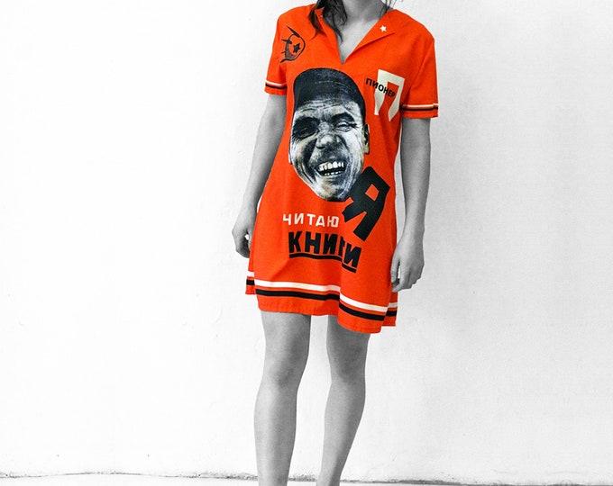 I READ BOOKS Dress, short sleeves, A-Line, digital  print, Soviet Union, October revolution
