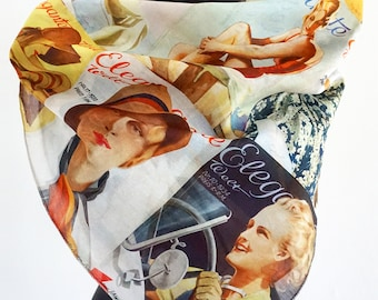 "ART DECO SCARF German Magazine ""Elegante Welt"" Cotton, Silk, Art Nouveau, digital print, 1930s"