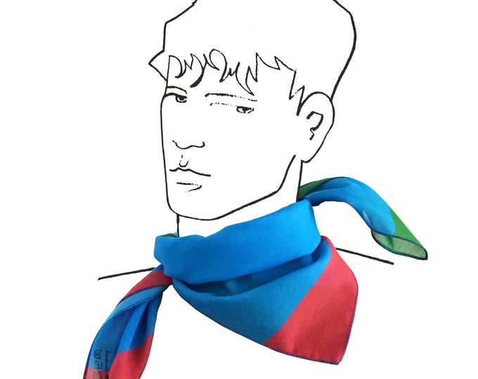 "SCARF ""SQUARE"" in 2 colors, geometric pattern, digital print, cotton, silk"