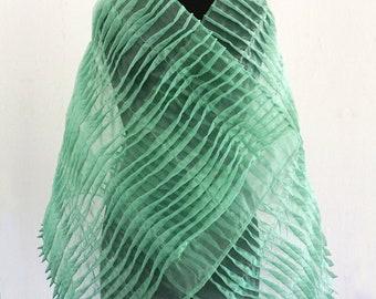ORGANZA TUCK SCARF pleated shawl, green, translucent, organza, pleated