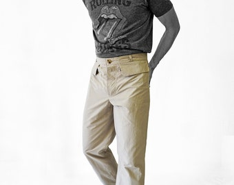 SALE! TROUSERS MEN with clap pockets, Man pants, cotton, handmade, uniform