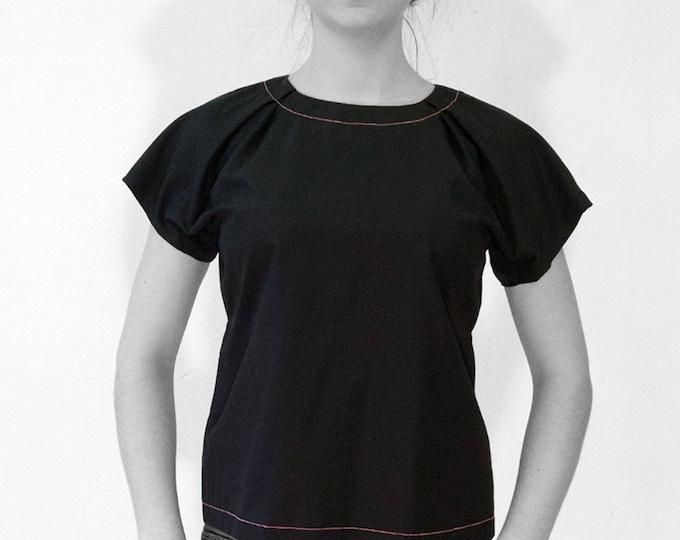 CIMONO BLOUSE, Kimono, white, green, black, slip form, cotton, short sleeves