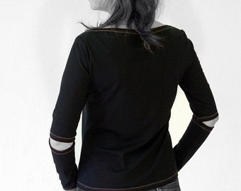 T-SHIRT with Sleeve opening, black, white, jersey, cotton