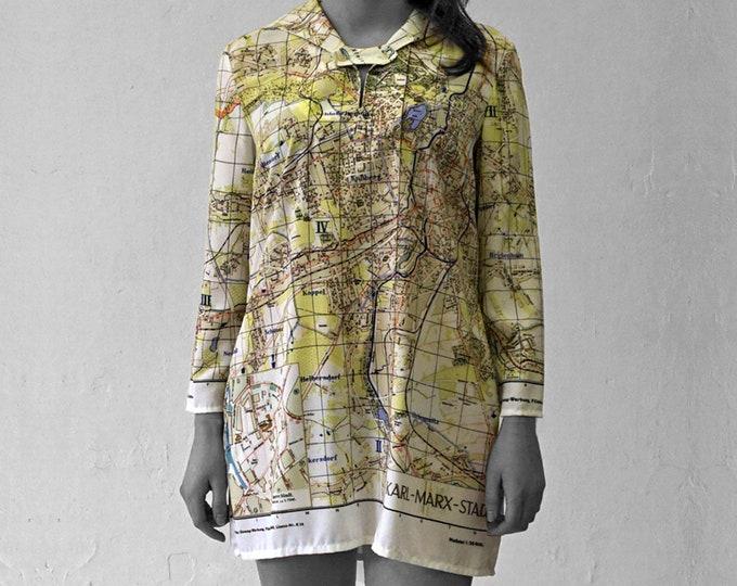 KARL MARX STADT Blouse with 3/4 Sleeves, sailor collar, plan, Socialism, digital print, Karl Marx